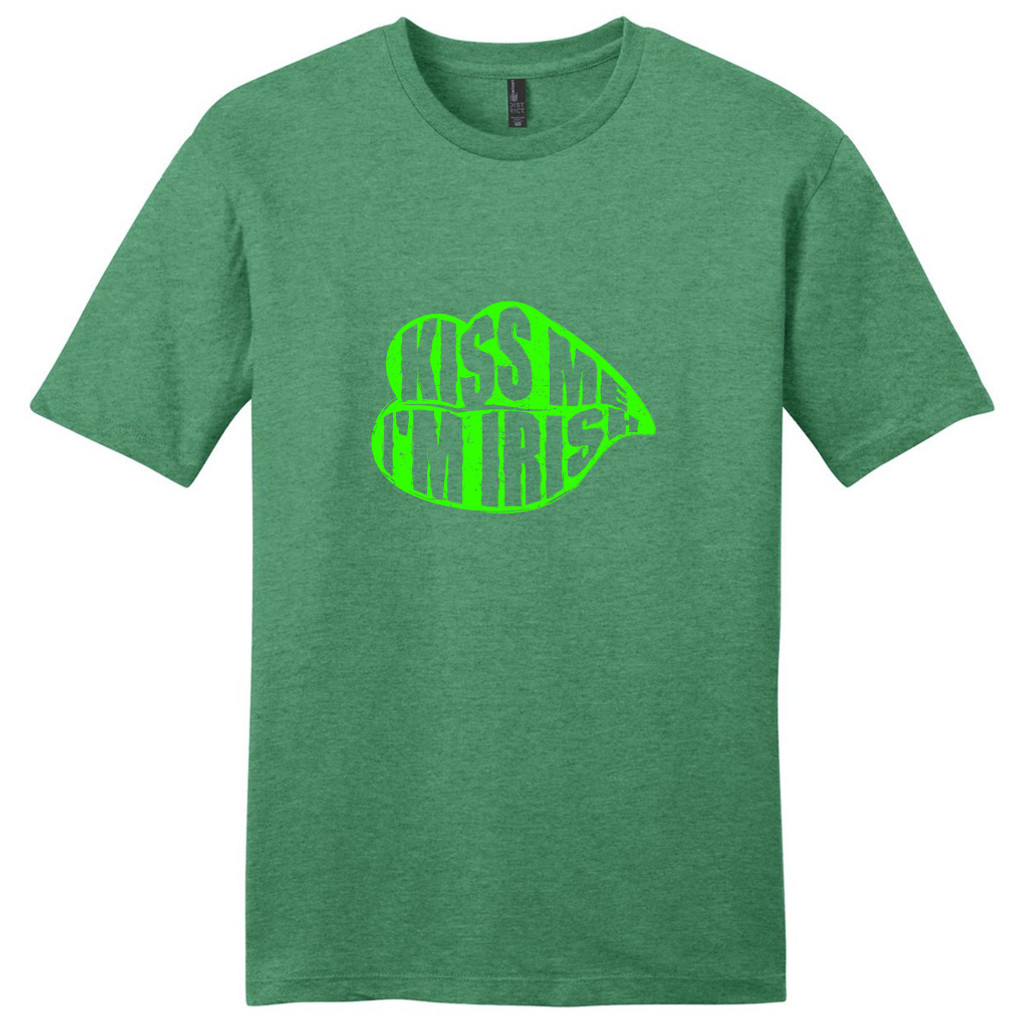 Heathered Kelly Green Kiss Me I'm Irish T-Shirt