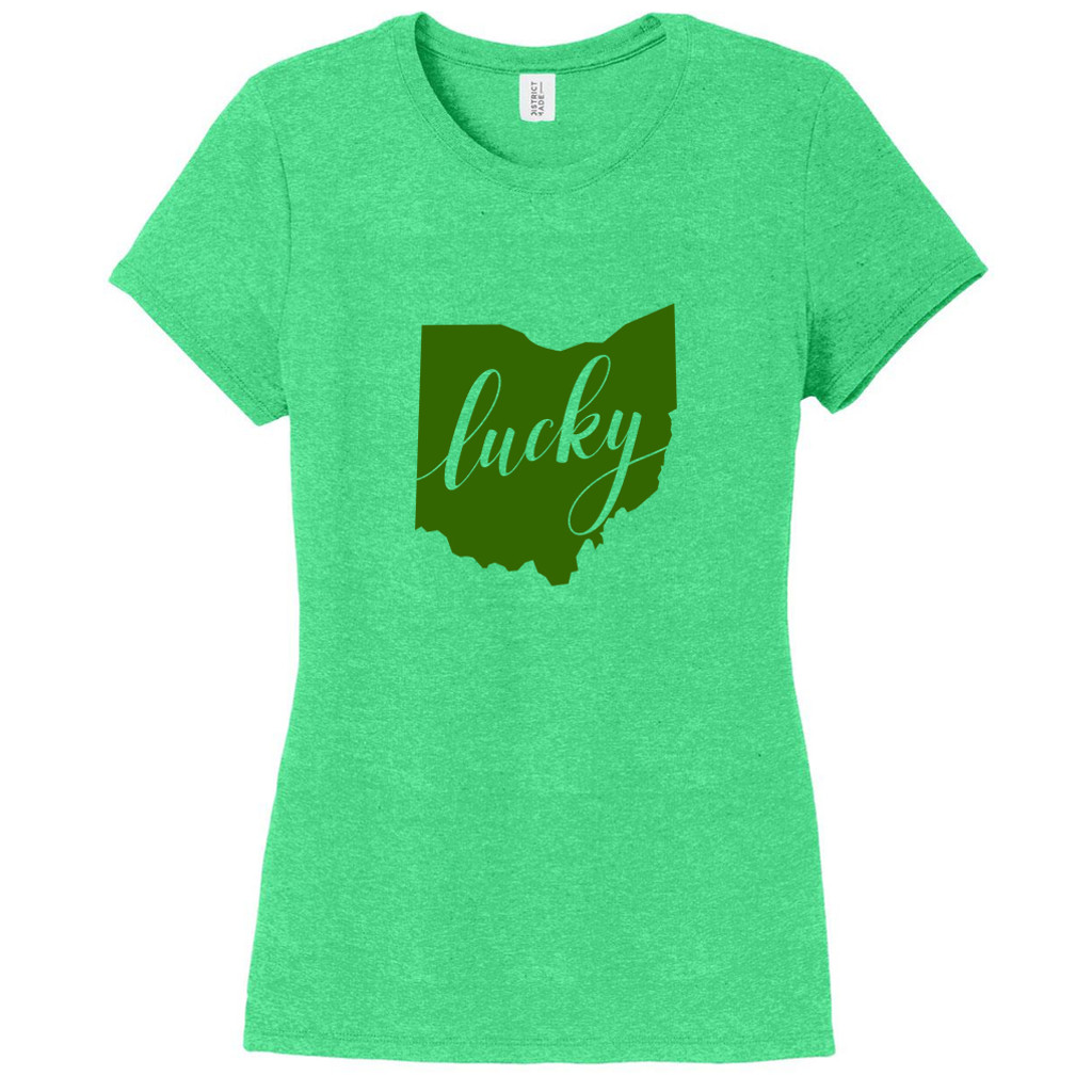 Green Frost Lucky Ohio Women's Fitted T-Shirt