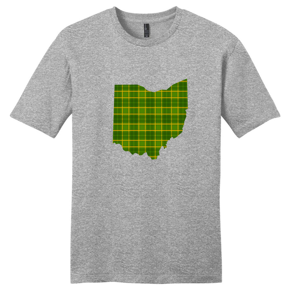 Light Heathered Gray Custom Green Plaid State Silhouette T-Shirt