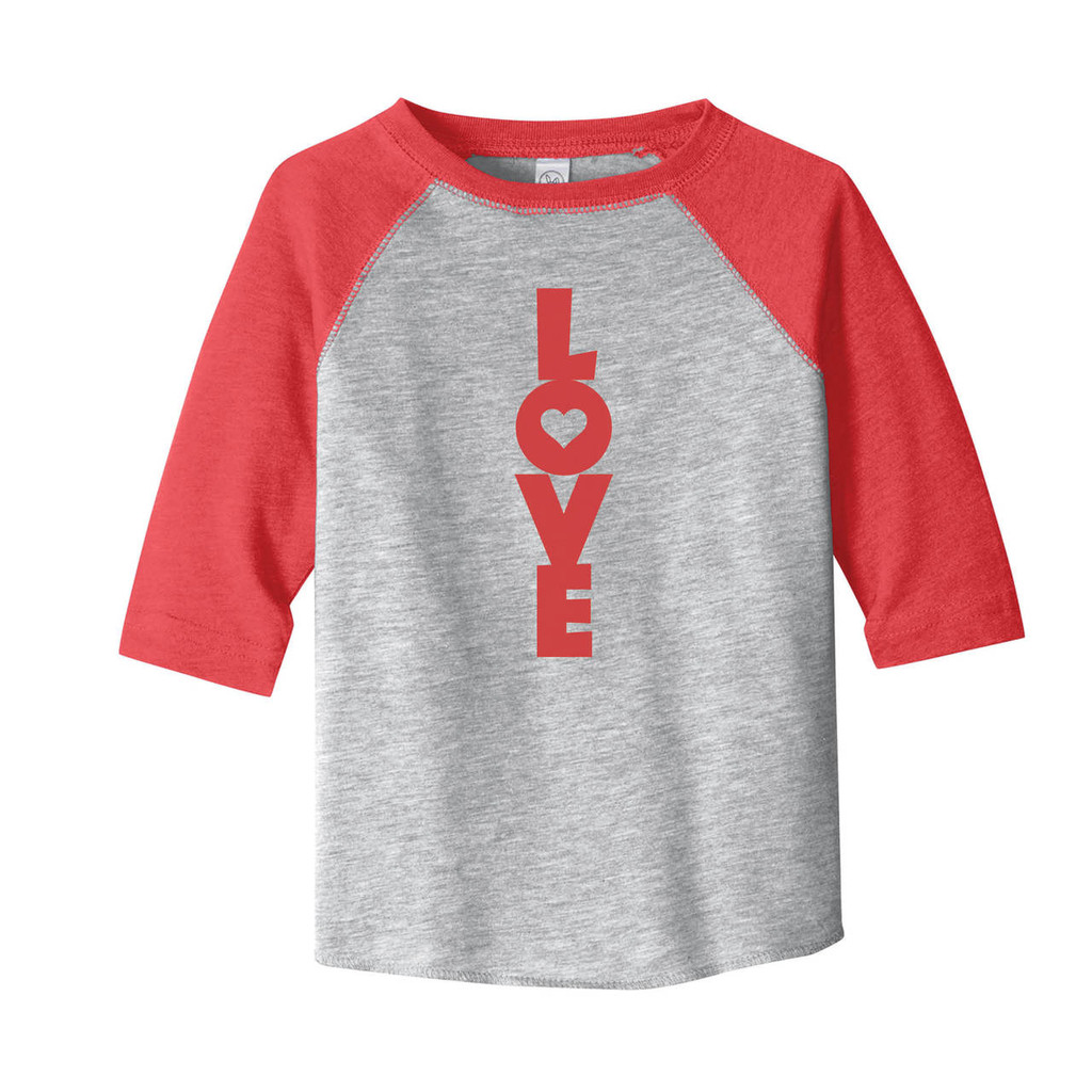 Vintage Heather / Vintage Red LOVE Valentine's Toddler 3/4 Length Sleeve Raglan T-Shirt