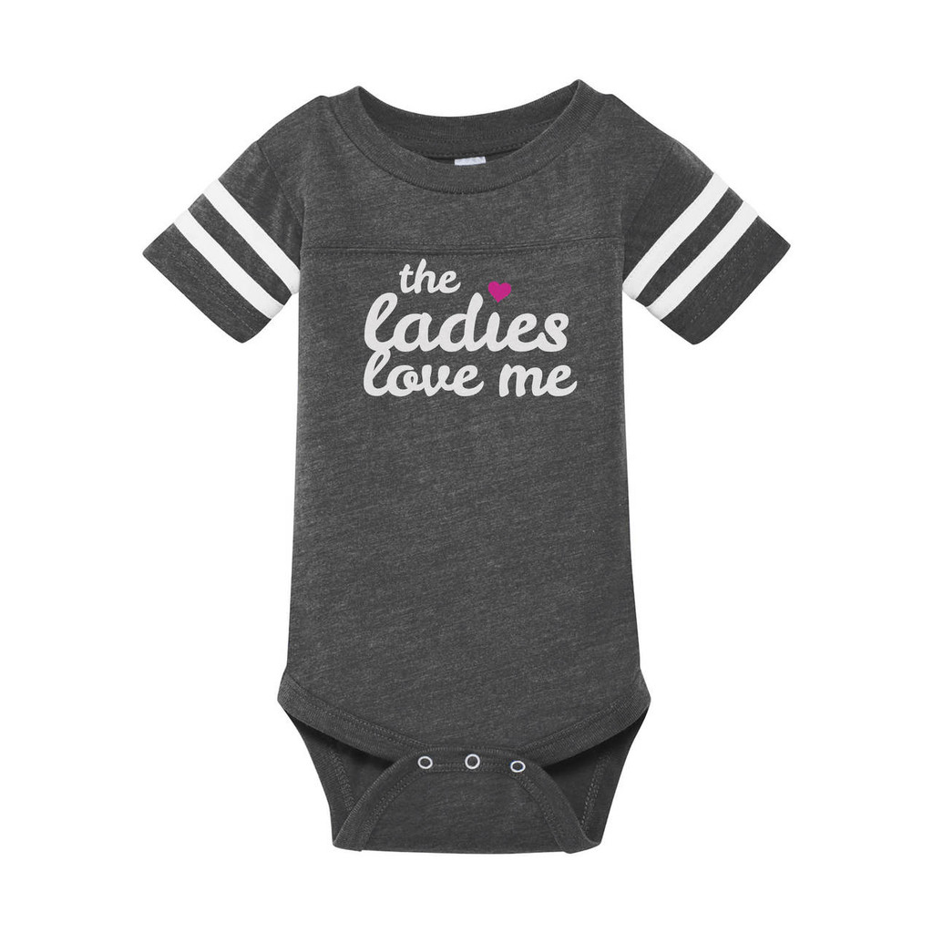 The Ladies Love Me infant onesie in heather grey with contrasting white on sleeves.