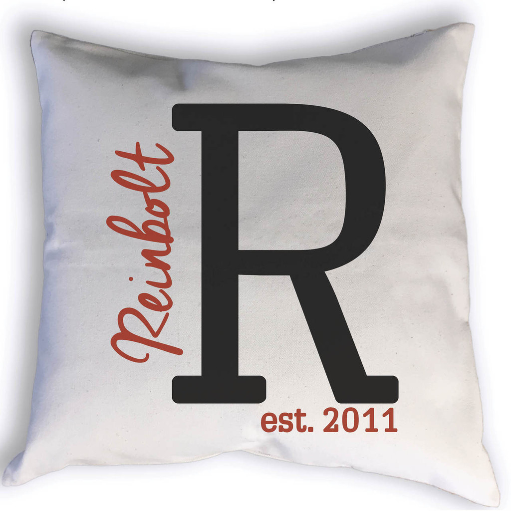Family name monogram with est. year pillow.