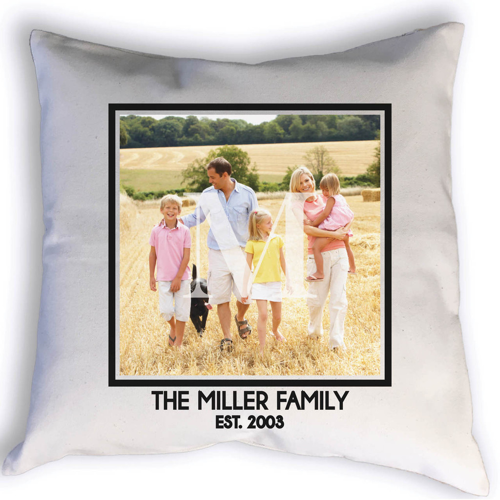 This beautiful custom family pillow with photo, your family name, monogram, and year established.