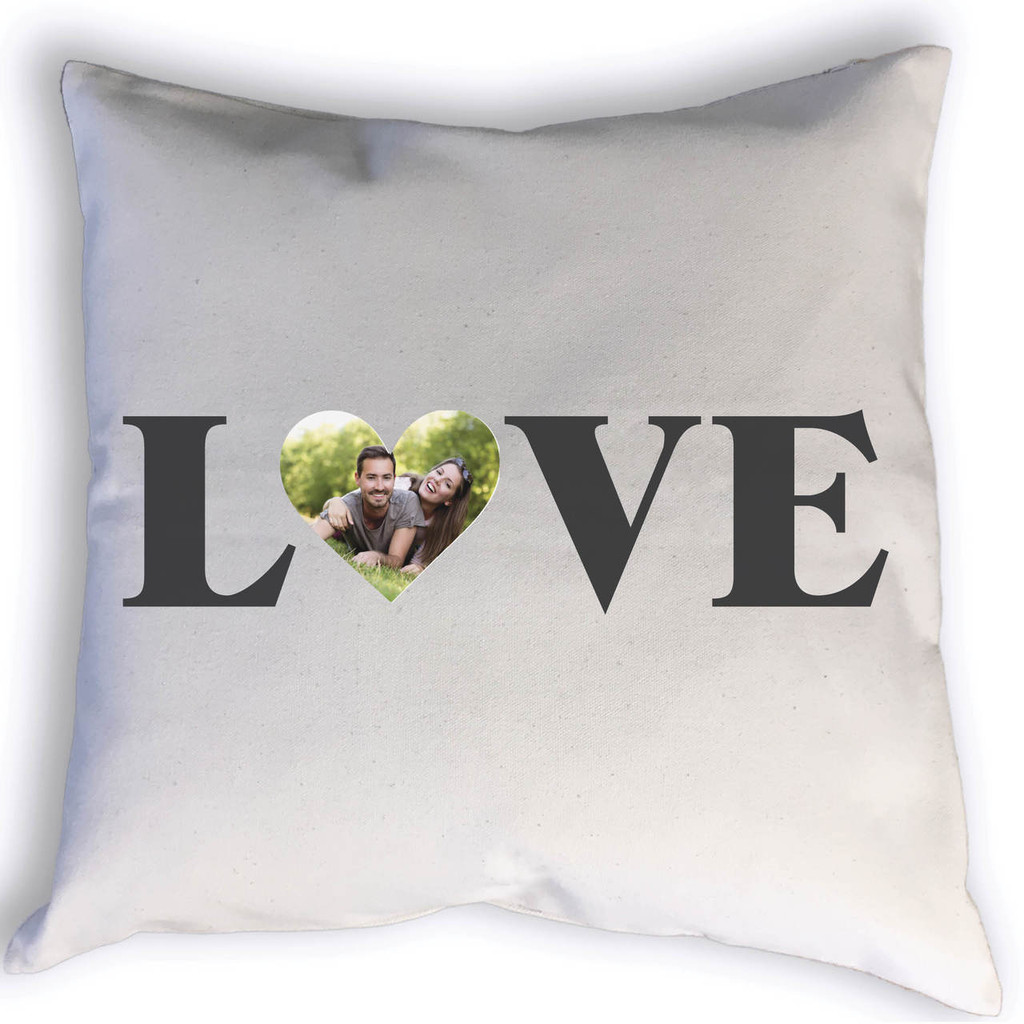 Show a little love to someone special with this custom love pillow. Complete with a heart shaped photo of your choice, this personalized pillow is a great addition to your family room, bedroom, or even a nursery or kid's room!