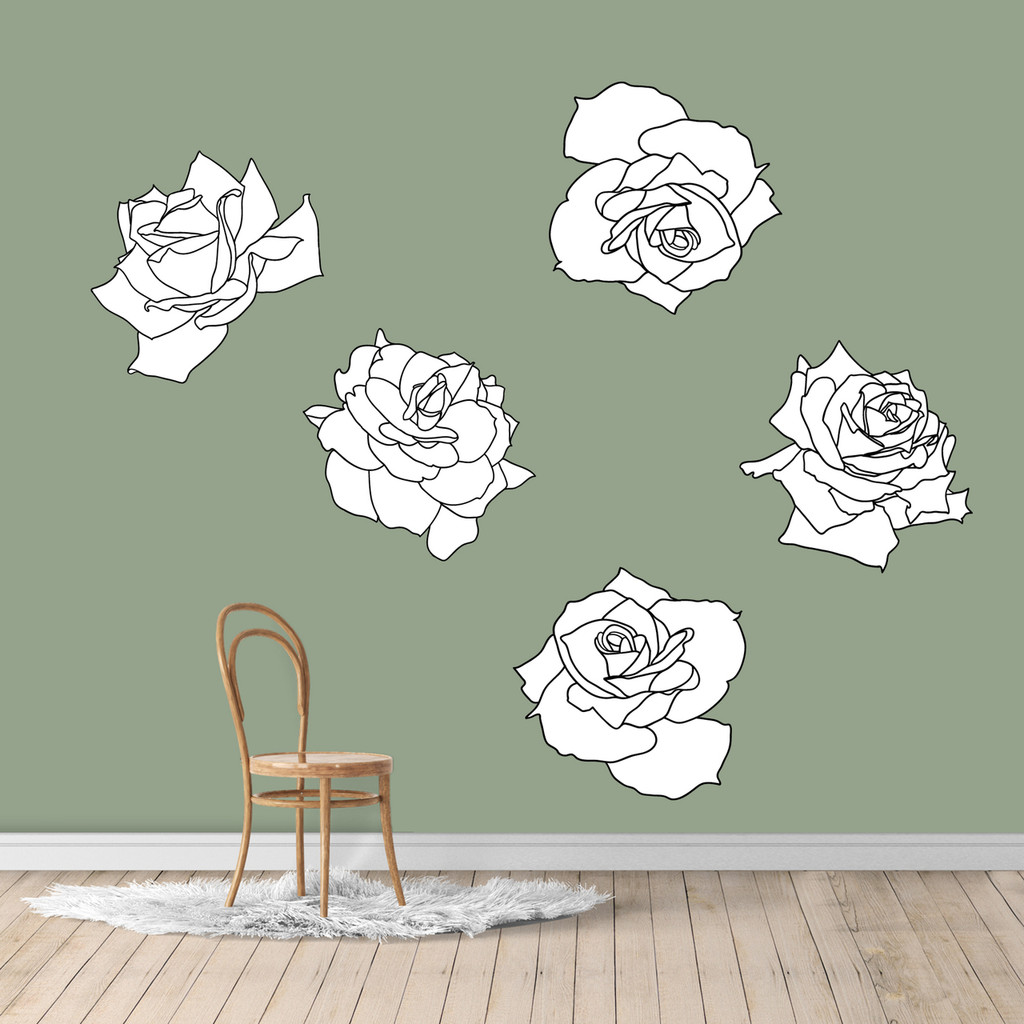 Black and White Roses Printed Wall Decals Large Sample Image