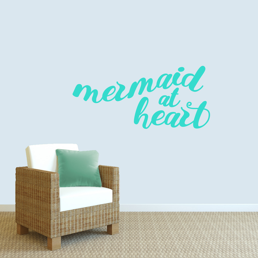 "Mermaid At Heart Wall Decal 48"" wide x 22"" tall Sample Image"