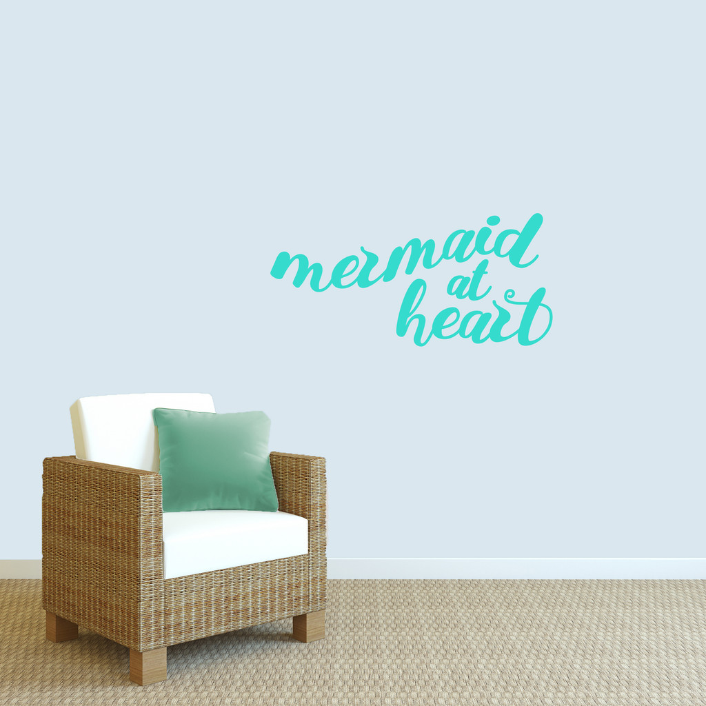 "Mermaid At Heart Wall Decal 36"" wide x 17"" tall Sample Image"