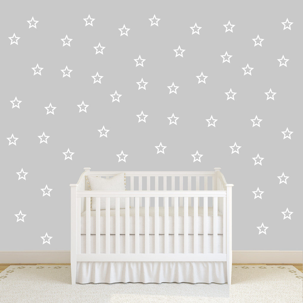 Outlined Stars Set Wall Decals Large Sample Image