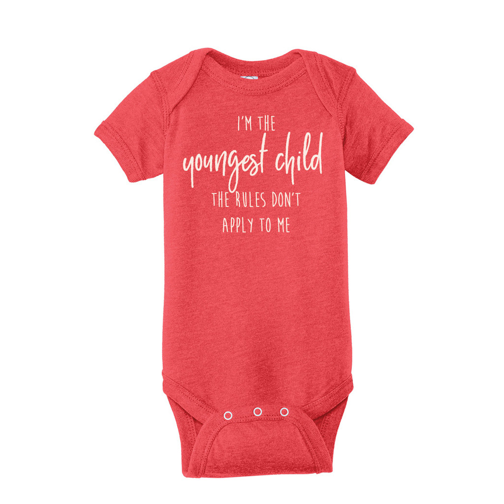 Vintage Red Birth order, youngest child Infant Onesie T-Shirt