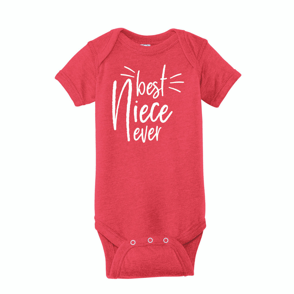 Infant Onesie T-Shirt, Best Niece Ever design on Vintage Red