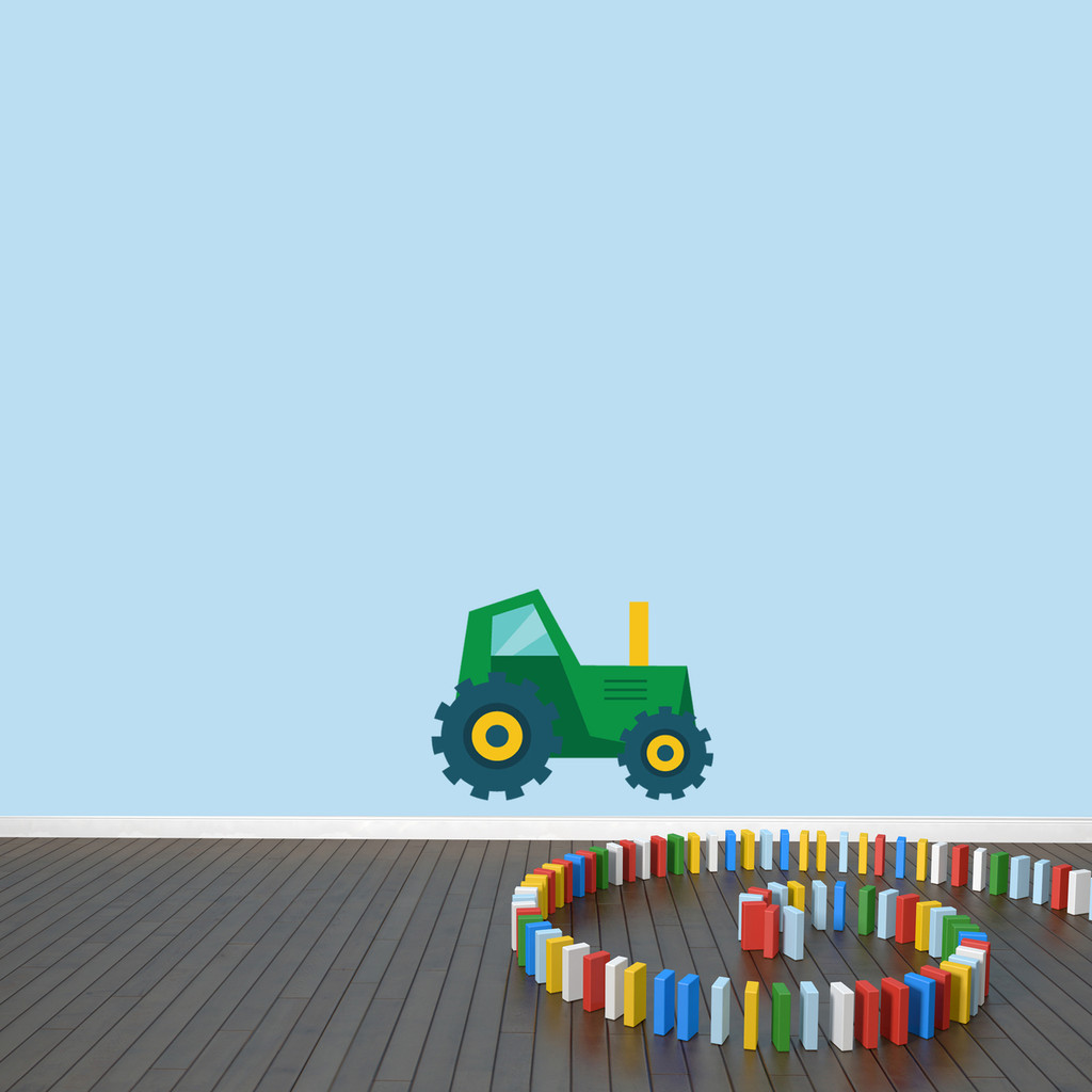 "Tractor Printed Wall Decal 18"" wide x 14"" tall Green Sample Image"
