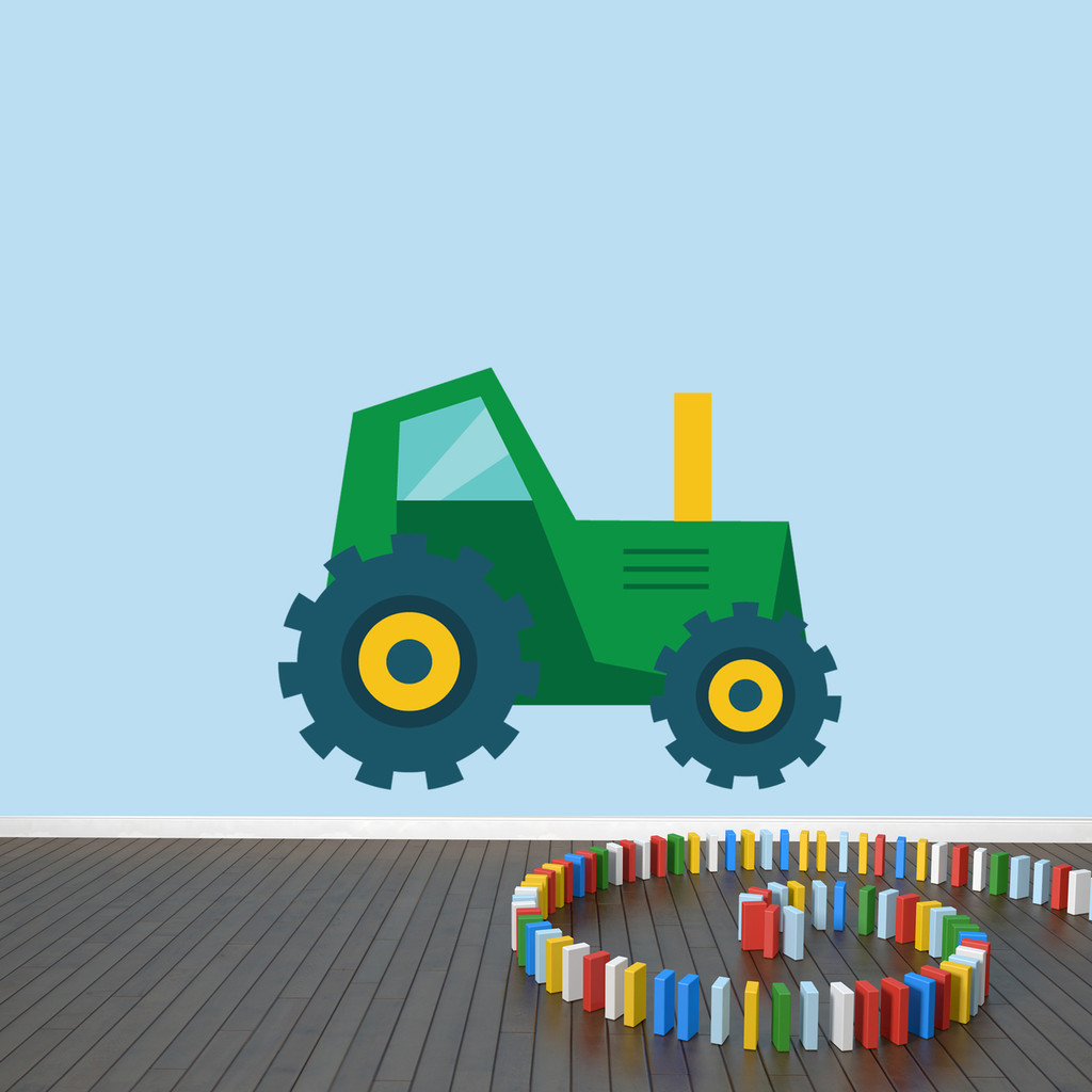 "Tractor Printed Wall Decal 36"" wide x 27"" tall Green Sample Image"