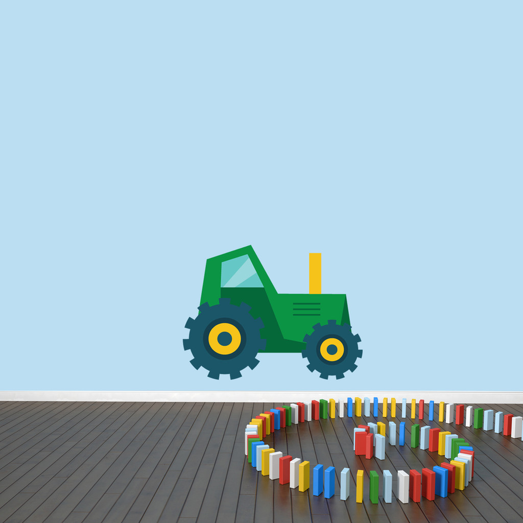 "Tractor Printed Wall Decal "" wide x 18"" tall Green Sample Image"