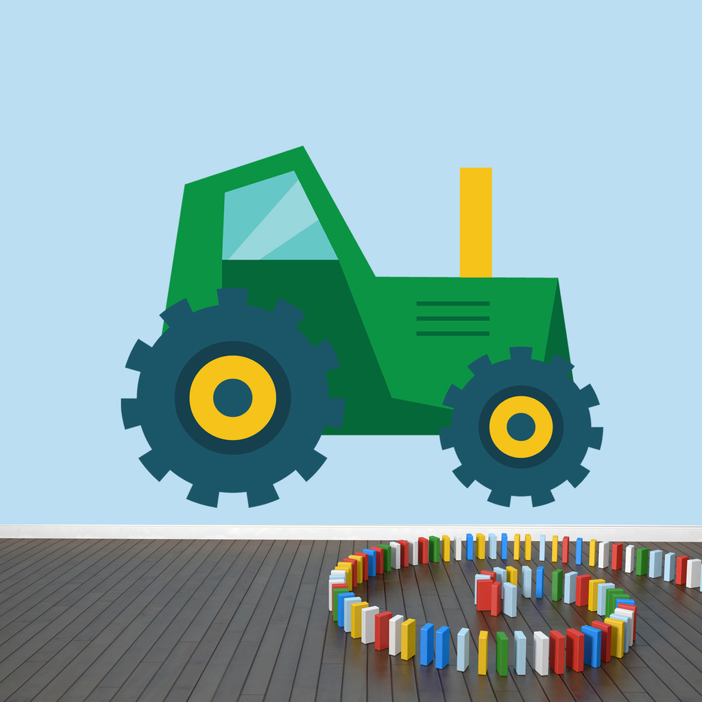 "Tractor Printed Wall Decal 48"" wide x 36"" tall Green Sample Image"