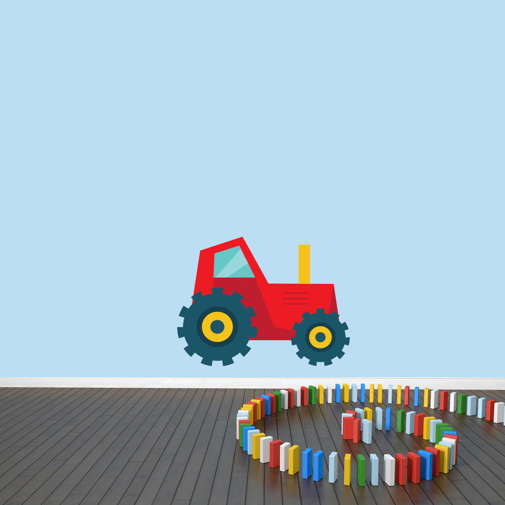 "Tractor Printed Wall Decal 24"" wide x 18"" tall Red Sample Image"