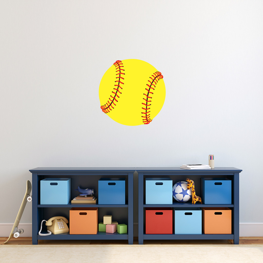 "Softball Printed Wall Decal 18"" wide x 18"" tall Sample Image"