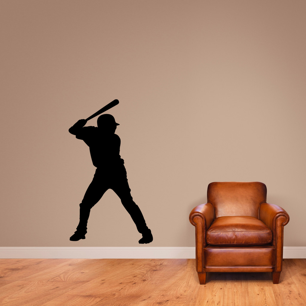 "Baseball Batter Silhouette Wall Decal 28"" wide x 48"" tall Sample Image"