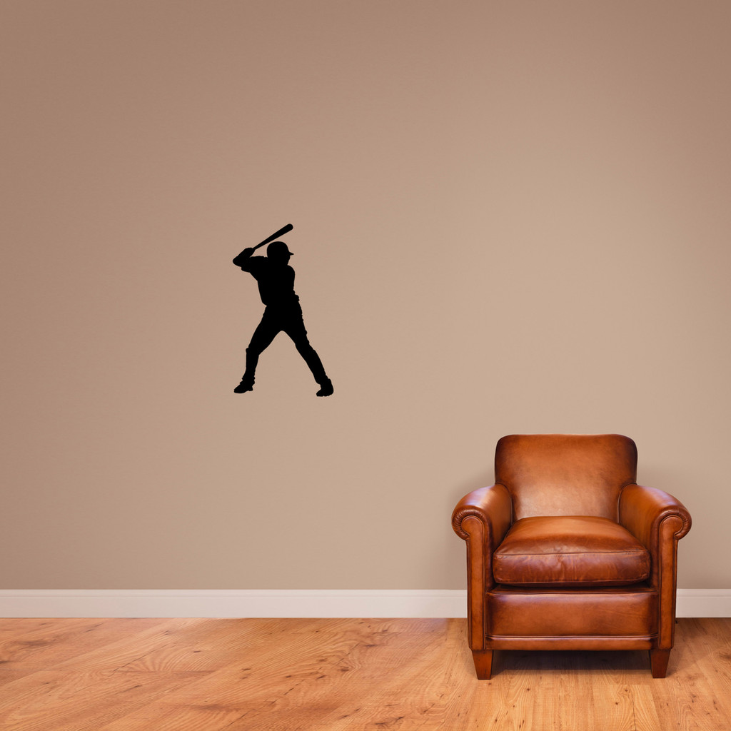 "Baseball Batter Silhouette Wall Decal 14"" wide x 24"" tall Sample Image"