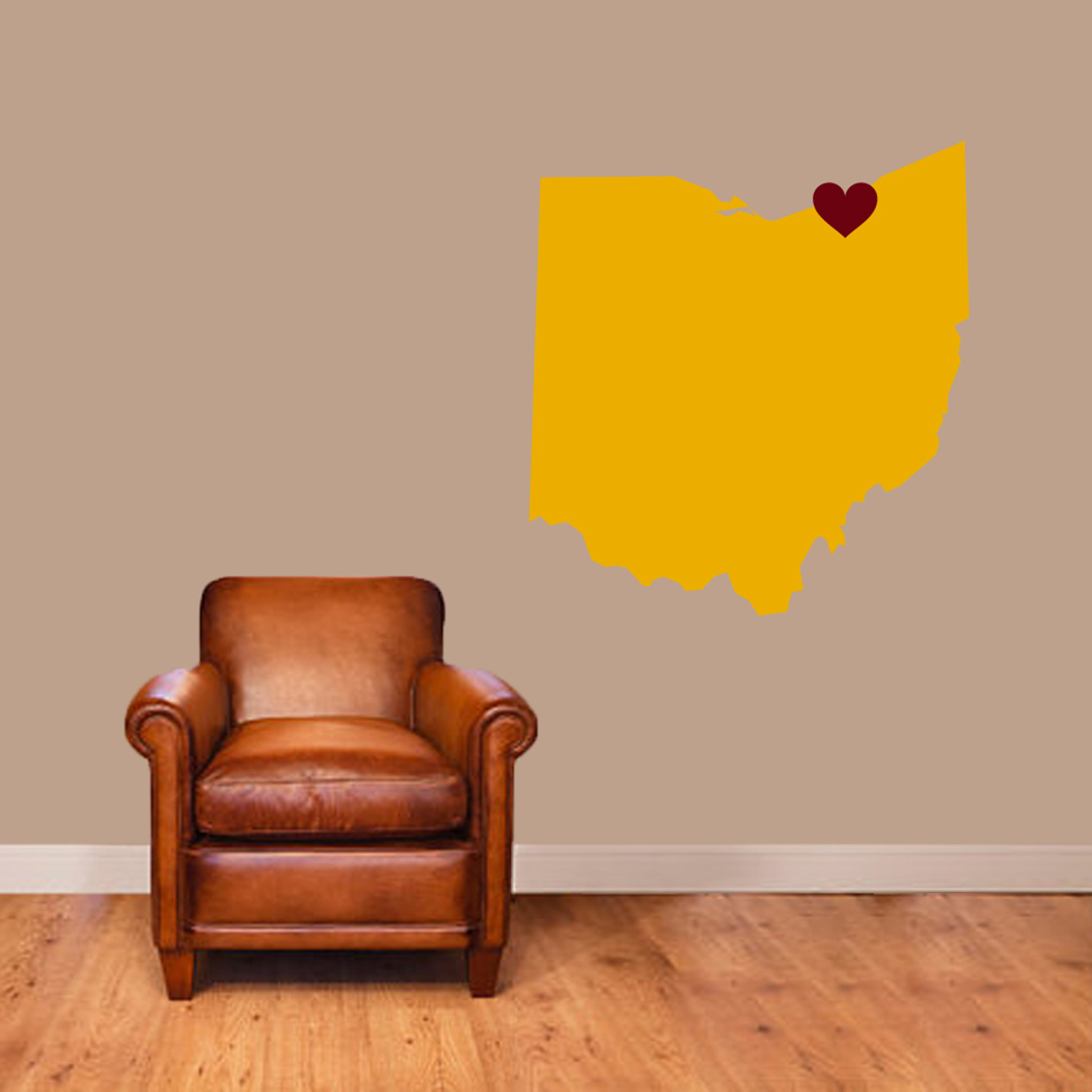 Custom State Silhouette With Heart Wall Decals Wall Decor Stickers