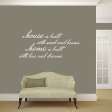 "A House Is Built Wall Decals and Stickers 48"" wide x 22"" tall Sample Image"