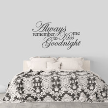 """Kiss Me Goodnight Wall Decal 48"""" wide x 28"""" tall Sample Image"""