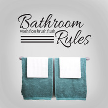 """Bathroom Rules Wall Decals 36"""" wide x 16.5"""" tall Sample Image"""