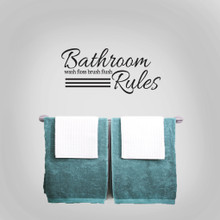 """Bathroom Rules Wall Decals 24"""" wide x 11"""" tall Sample Image"""