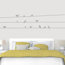 "Birds On Lines Wall Decals 96"" wide x 22"" tall Sample Image"