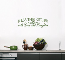 "Bless This Kitchen Wall Decals 36"" wide x 12"" tall Sample Image"