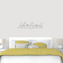 "Breathe Let Go Relax Wall Decal 48"" wide x 14"" tall Sample Image"
