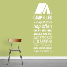 "Camp Rules - Tent Wall Decals Wall Stickers 22"" wide x 60"" tall Sample Image"