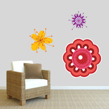 Colorful Flowers Printed Wall Decals Large Sample Image