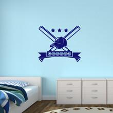 "Custom Baseball Name Wall Decal 36"" wide x 30"" tall Sample Image"