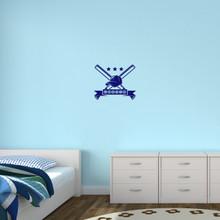 "Custom Baseball Name Wall Decal 18"" wide x 15"" tall Sample Image"