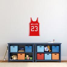 "Custom Basketball Jersey Wall Decal 15"" wide x 24"" tall Sample Image"