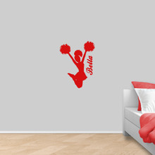 """Custom Cheerleader Wall Decal 18"""" wide x 24"""" tall Sample Image"""