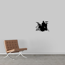"Drum Set Wall Decal 18"" wide x 14"" tall Sample Image"
