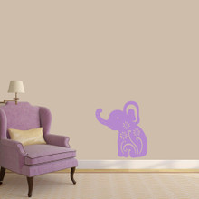 "Floral Elephant Wall Decals 22"" wide x 24"" tall Sample Image"