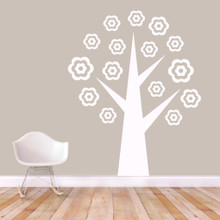 "Flower Tree Wall Decals 58"" wide x 72"" tall Sample Image"