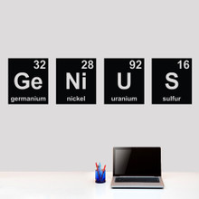 """Genius Periodic Table Wall Decals 60"""" wide x 15"""" tall tall Sample Image"""