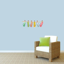 "Hanging Flip Flops Printed Wall Decals 24"" wide x 8"" tall Sample Image"