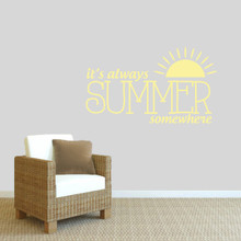 "It's Always Summer Somewhere Wall Decal 48"" wide x 28"" tall Sample Image"