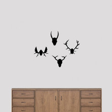 Mounted Antlers Set Wall Decals Small Sample Image