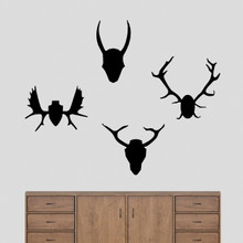 Mounted Antlers Set Wall Decals Large Sample Image