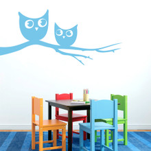 "Owls On Branch Wall Decals 48"" wide x 22"" tall Sample Image"