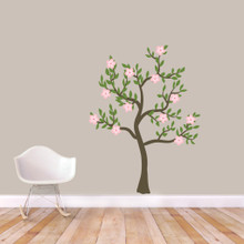 "Pink Flower Tree Printed Wall Decals 45"" wide x 60"" tall Sample Image"