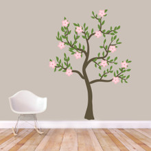 "Pink Flower Tree Printed Wall Decals 54"" wide x 72"" tall Sample Image"