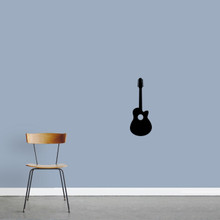 "Classic Guitar Wall Decal 9"" wide x 24"" tall Sample Image"