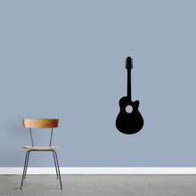 "Classic Guitar Wall Decal 13"" wide x 36"" tall Sample Image"