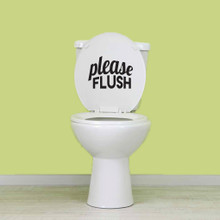 """Please Flush Wall Decals 8"""" wide x 6"""" tall Sample Image"""